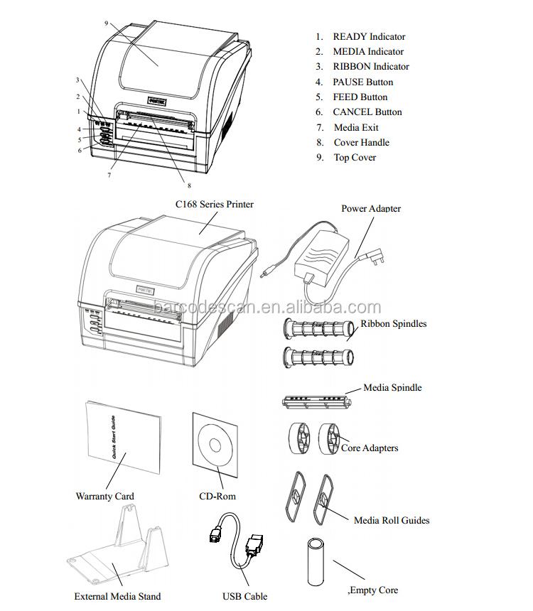 Bar Code Printer Thermal Transfer Postek C168 Label Printer