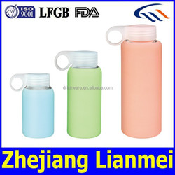 2015 hot selling shaker bottle joyshaker, glass water bottle with silicone sleeve, water bottle manufacturer in zhejiang