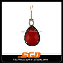 2015 fashion&charming stainless steel wire wrap indian agate arrowhead pendant