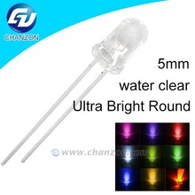 Super bright through hole led round transparent diode lamp white blue red green yellow amber pink uv rgb led light led 5mm