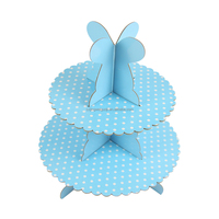 disposable teatime decorative 2-layer paper folding cupcake/cake/bakery stand