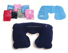 Advertising Flocked PVC fabric inflatable U-shape travel pillow