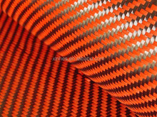 Orange Twill Carbon Kevlar Hybrid Fabrics, Carbon Aramid Fiber Cloth