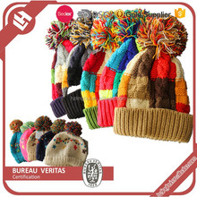 Jacquard design custom winter crochet knit hat with ball top