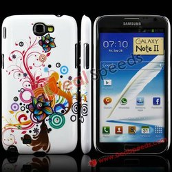 Dazzle Colorful Blossom Vines Diamond Inlaid Glitter Plastic Case for Samsung Galaxy Note II N7100