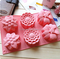 6 Cavities Big Flower Silicone Cake Baking Mold Cake Pan Muffin Cups Handmade Soap Moulds Biscuit Chocolate Ice Cube Tray