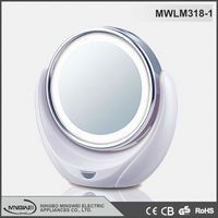 2015 Double sided Nice pocket mirror salon steel chrome cosmetic mirror with led