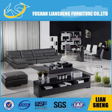 OEM hot sell polished stainless steel modern style round coffee table with tempered glass
