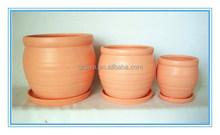 Terra-cotta Ceramic Cheap Garden Plant Pots Set of 3 With Plates