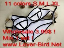 STOCK Popular NO PADDED Triangle Tops Sexy Black Neoprene Bikini
