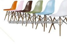 2014 China plastic dining chair with wood legs and ABS