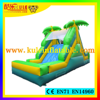 KULE lovely coco inflatable slip and slide for kids for sale/funny mini inflatable slide with rock climbing wall
