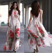Z81852A 2014 korean summer fashion floral printed ladies long dresses