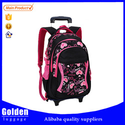 pinky girls cute kids luggage school trolley backpack lightweight waterproof wheeled bakcpack