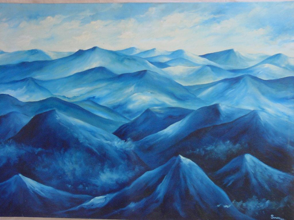 Oil painting blue mountains buy oil painting product for Blue paintings on canvas