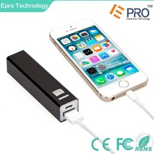 2600 mAh External 18650 Battery USB Portable Charger Square Pipe Power Bank, mini portable mobile power bank