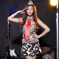 Sexy Police Womens Officer Military Costume Stage Clothes Camouflage General Uniforms