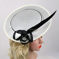 New Arrival Ladies Satin Cover Millinery Plain Hair Clip Sinamay Church Hat