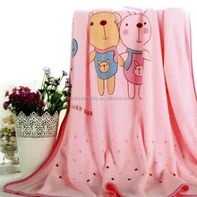 Happy bear coral fleece baby blanket