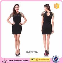 2015 Latest Design Sequin and Beaded Shoulder Mini Women Night Dress