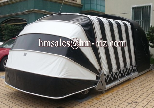 Retractable Car Shelter : Solar powered retractable garage automatic car shelter