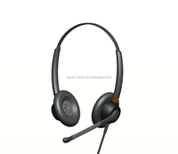 2015 Hot Binaural call center headset headphone wire with rubber boom