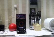 Speaker with function of USB/SD/FM/2 microphone jack/2 guitar jack/1 wireless micropone/woofer grill with LED light