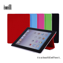 PU leather smart cover with plastic hard case for ipad2/3/4. OEM is welcomed