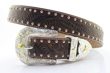 Floral embossed studded cowboy belts