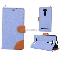New Retro Jean Style Design PU Leather+TPU Wallet Case For ASUS ZenFone 2 Laser ZE500KL 5.0 inch Card Slot and Stand