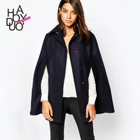 HAODUOYI Women Winter Blended Overcoats Cloak Style Trench Coats with Pocket for wholesale