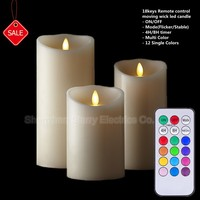 hot selling 18keys remote control smart living moving wick flameless led candles