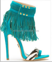 Women Sandal Shoes High Heel Suede Leather Ankle Fringe Feminine Sexy Sandal