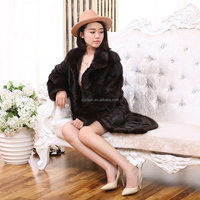 Genuine mink whole skin fur real mink coats from china