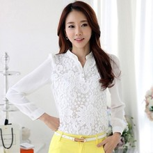 Hot designs ladies women stand collar long sleeve patch work chiffon white blouse designs for office sv019826
