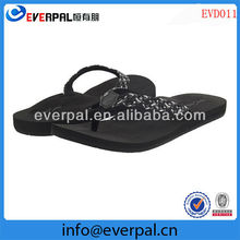 Ultra soft woven strap rubber sponge outsole ladies black beach sandal