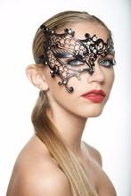 JSR-026 Unique Black Phantom Metal Laser Cut Masquerade Mask Aurora Borealis Rhinestones