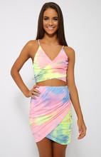 2015 Rainbow Print 2 Piece Bodycon Skirt Set Mini Skirt for Women LC517