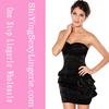 Ladies sexy black Funky Strapless one piece party dress for women