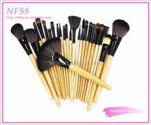 factory supply brush wood cosmetic 24pcs/set nylon hair make up brush bag