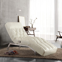 Button Tufted White Chaise lounge With Bonded Leather