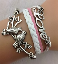 Love&Birds Charm Bracelet, Lucky Leaf Bracelet In Silver-Wax Cords and Imitation Leather Bracelet,ZA230 MIn order 10$