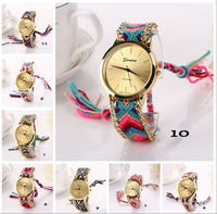8 Colors New Fashion Brand Handmade Rope Bracelet Women Watch Geneva Hand-Woven Watch Ladies Quarzt Watch
