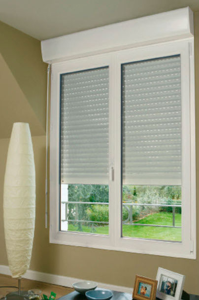 Pvc casement windows with fixed panle with blinds inside for Grande fenetre pvc