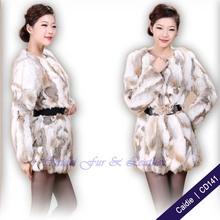 Projeto barato casaco de pele de coelho CD141 Fabricante Europa com mulheres manga longa