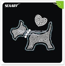 china factory wholesale rhinestone iron on transfers in little lovely dog for t-shirt