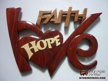 Wooden craft Love hope faith