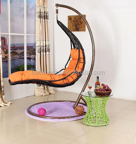 Rattan wicker hanging egg basket swing chair indoor with metal stand