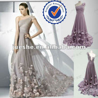 Elegant One Shoulder Handmade Flower Applique Flowing Chiffon Designer Evening Dress Online Shopping