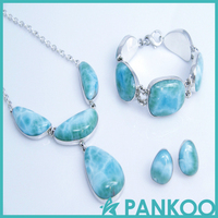 Beautiful blue green color Larimar 925 silver jewelry